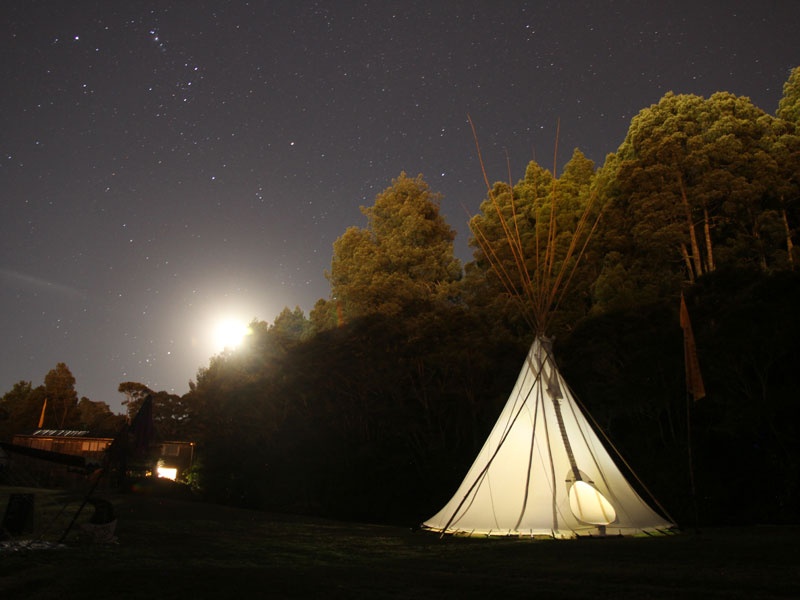 Tee-pee Workshop Space on Plains at Night