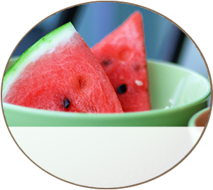 Red Melons in a bowl - Menu Sample