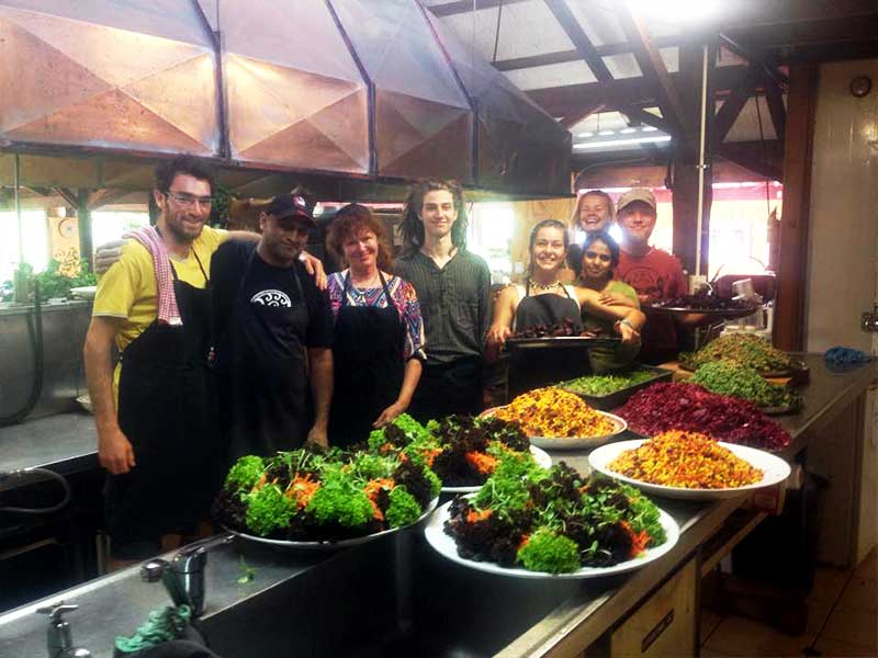 Wwoofers and Volunteers in the Kitchen at Yoga Festival