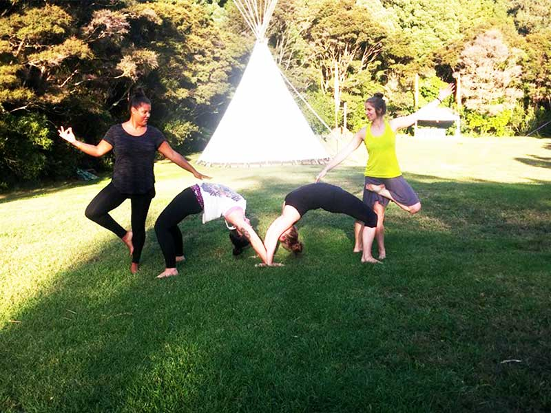 Wwoofers Practising Yoga on Kawai Purapura Plains