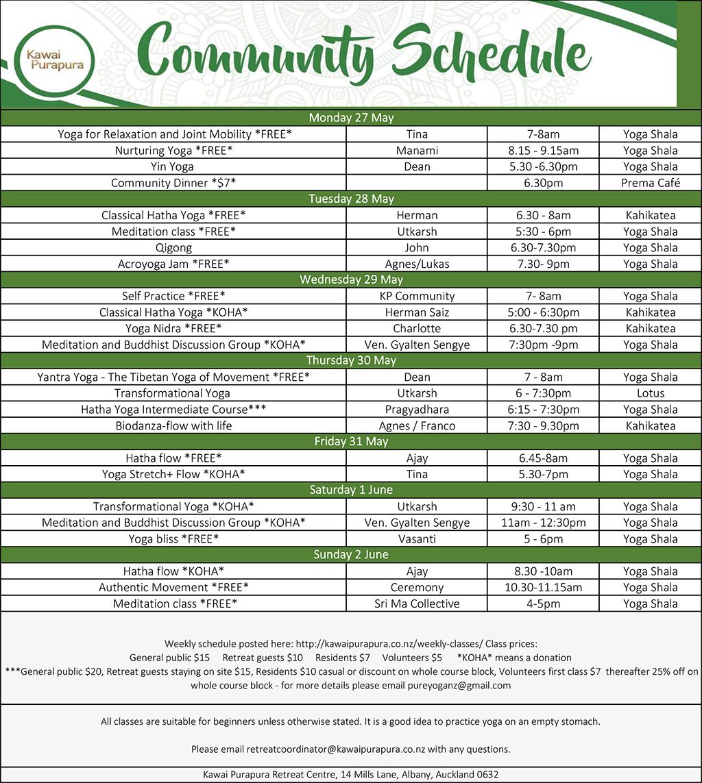 Community Schedule